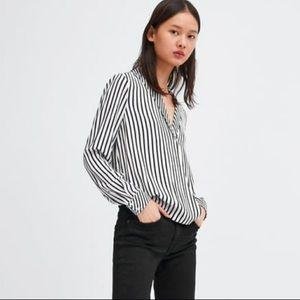 Zara Black & White Striped Crossover Blouse Top